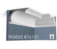 ТК5025 Карниз гладкий из гипса АртМодуль hh87х151
